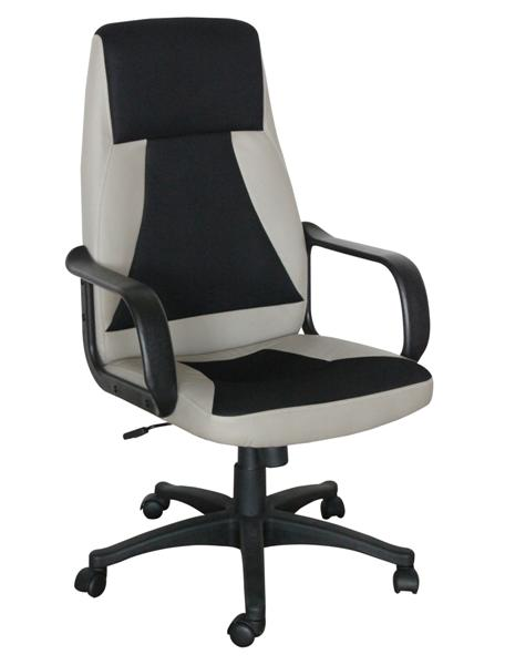 OF-0649 XXL karfás főnöki forgószék,szürke textilbőr/fekete mesh,fekete műanyag láb és karfa