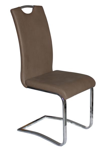 MF-7055 fémvázas kárpitozott szék króm,  barna