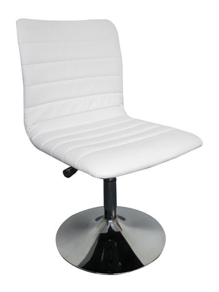 MF-3694 design szék, króm, fehér textilbőr. gázliftes