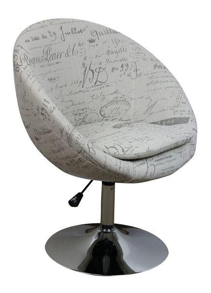 MF-7281 design coctail fotel króm, vil. szürke írásos zsákszövet