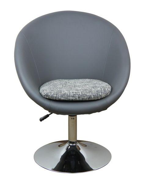 MF-7327 design coctail fotel króm, szürke textilbőr/szövet, gázliftes