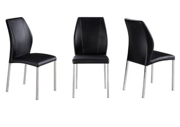 MF-6929 fémvázas kárpitozott szék króm, fekete textilbőr