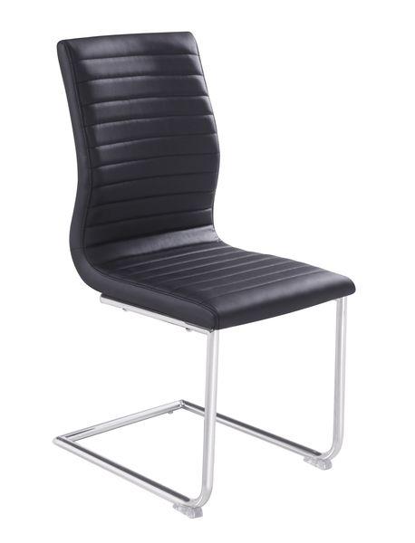 MF-6616 fémvázas kárpitozott szék szánkótalpas króm, fekete textilbőr