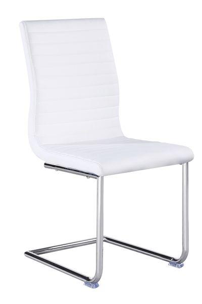 MF-6666 fémvázas kárpitozott szék szánkótalpas króm, fehér textilbőr