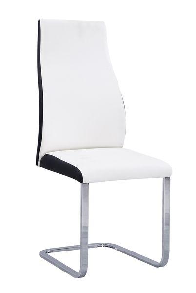 MF-6673 fémvázas kárpitozott szék szánkótalpas króm, fehér-fekete textilbőr