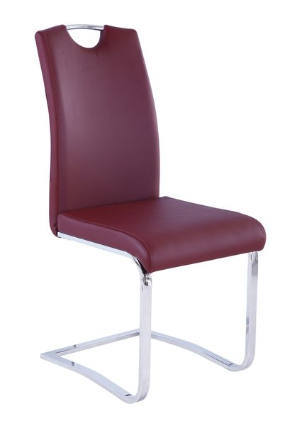 MF-7645 kárpitozott szék króm,  burgundy textilbőr
