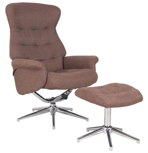 MF-7932 relax fotel   lábtartó, sötét barna szövet, króm lábbal