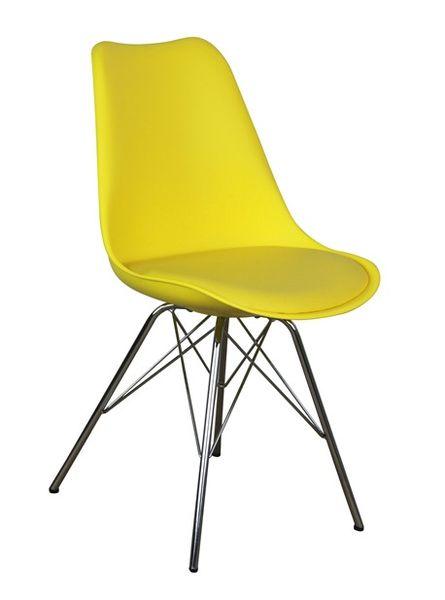 MF-8120 kárpitozott szék műanyag palást, króm láb, sáfrány sárga textilbőr