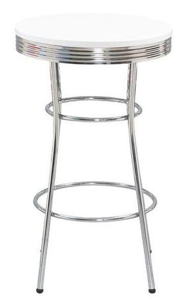 SB-12 bárasztal króm láb, 60 cm kör MDF lap, fehér