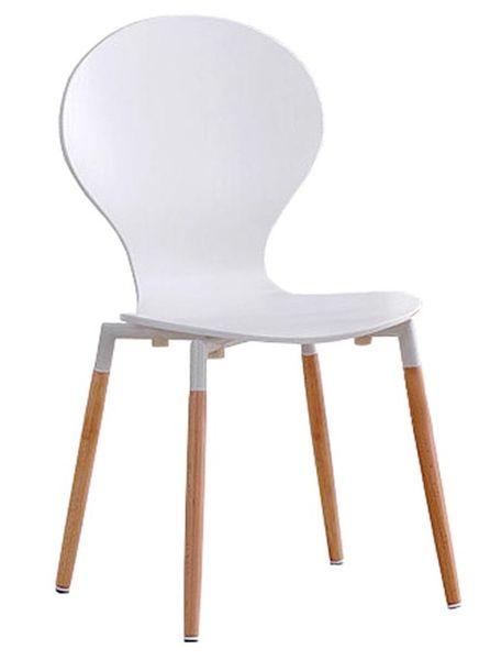 K-164 lemezelt szék, natúr bükk láb, matt fehér lakkozott ülés és támla