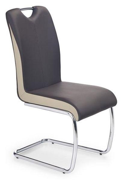 K-184 szánkótalpas króm szék,sötétbarna/pezsgő színű textilbőr