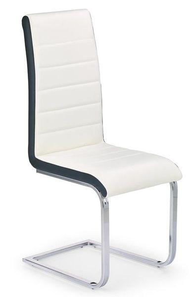 K-132 kárpitozott fémvázas szék fehér/fekete műbőr, króm