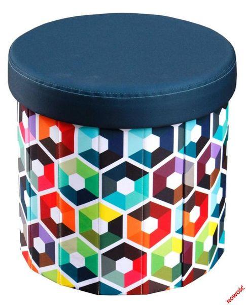 Dizzy Multi belsőtárolós, kerek puff, színes textilbőr