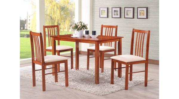 Párma étkezőgarnitúra,5 részes,MDF asztallap, 4 db kárpítozott fa szék