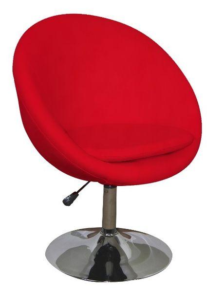 MF-8491 design fotel, króm, piros textilbőr, gázliftes