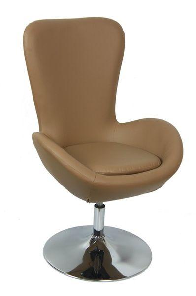 MF-8492 design coctail fotel króm, sötét beige textilbőr