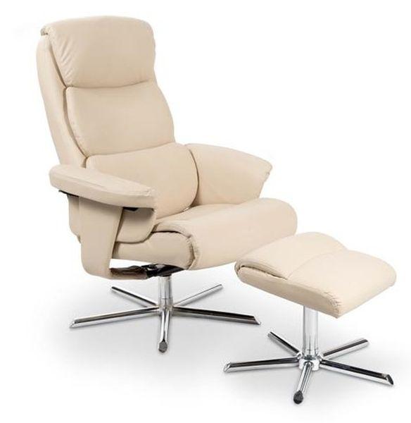 Mayer relax fotel króm, beige textilbőr