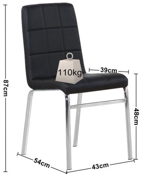 MF-7506 kárpitozott fémvázas szék, crom, fekete textilbőr
