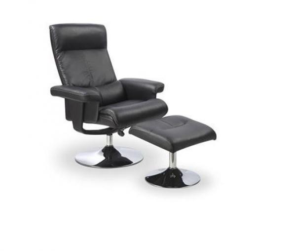 Dayton relax fotel crom váz, fekete textilbőr