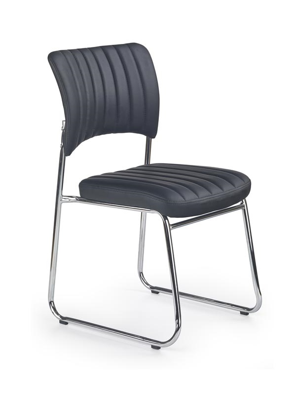 Rapid  rakásolható szék,króm,fekete textilbőr