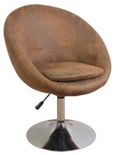 MF-6483 design fotel, króm, antik barna texilbőr, gázliftes