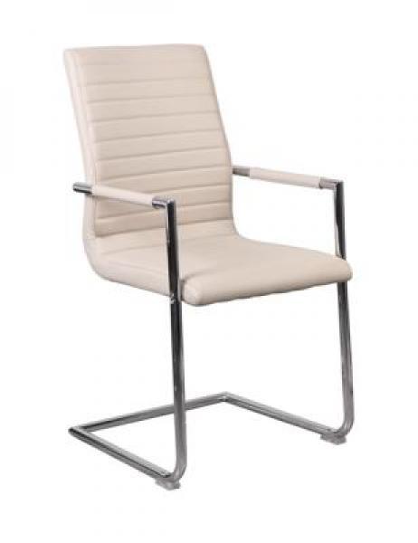 MF-0140 kárpitozott fémvázas szék metál, latte (vintage) textilbőr