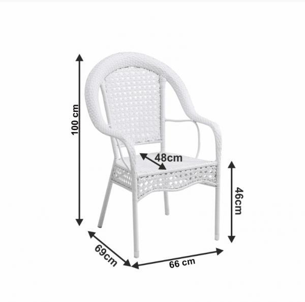 Koven kültéri garnitúra 1 asztal  4 fotel  fehér színben