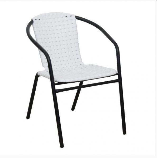Bergola rakásolható kültéri karszék fém váz, műanyag ülés támla, fehér-fekete