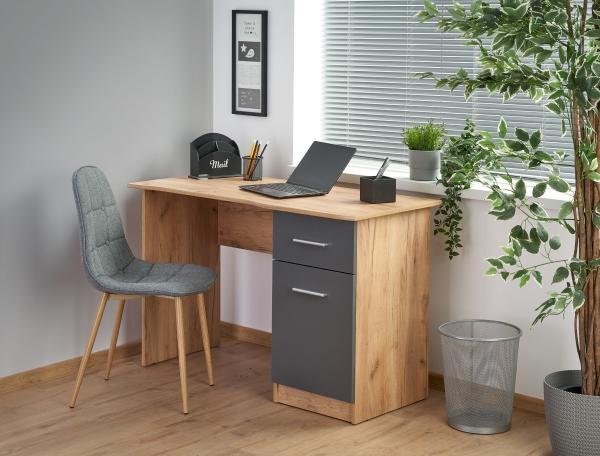 Elmo íróasztal 1 fiók 1 ajó, tölgy-antracit szürke