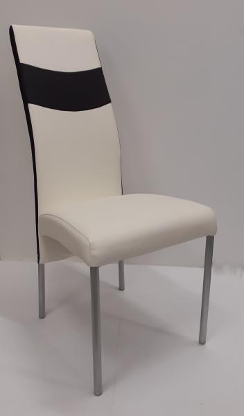 K-51 fémvázas szék, szürke acél váz, fehér-fekete, alu