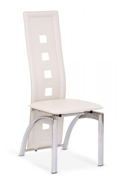 K-4 fémvázas szék,PVC ,beige textilbőr,króm