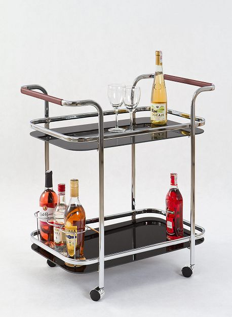Bar-7 szögletes zsúrkocsi, króm, fekete üveg, görgős