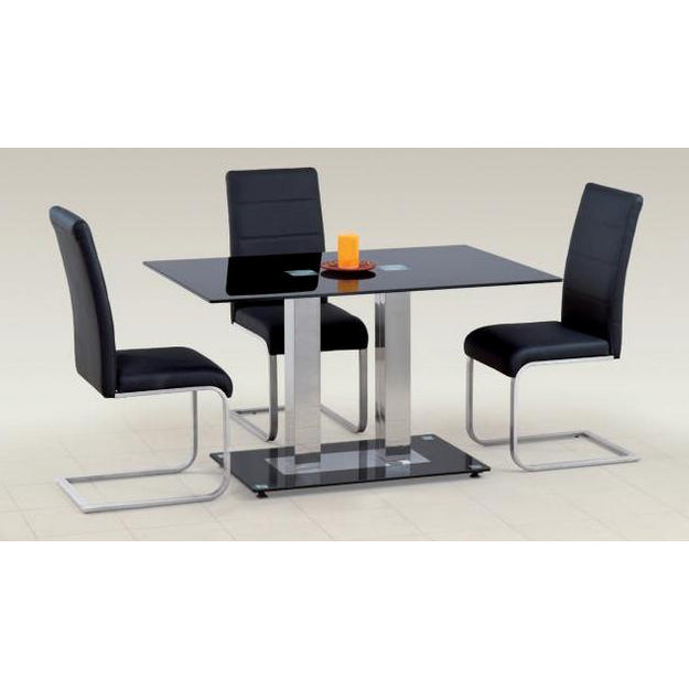 Walter II. ebédlő asztal króm, fekete üveges 80x130