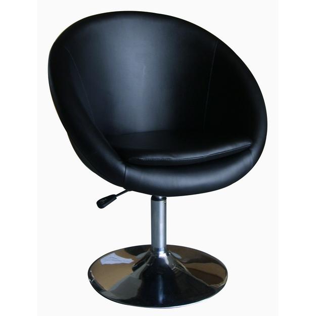 MF-2233 design fotel króm, fekete textilbőr, gázliftes