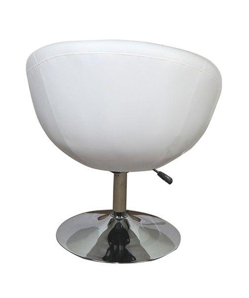 MF-2442 design fotel króm, fehér textilbőr, gázliftes