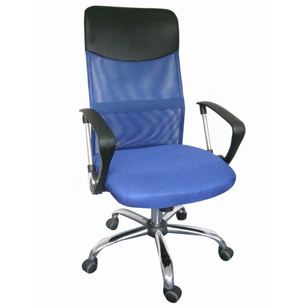OF-0246 karfás forgószék, kék háló/fekete textilbőr fejtámla, króm láb