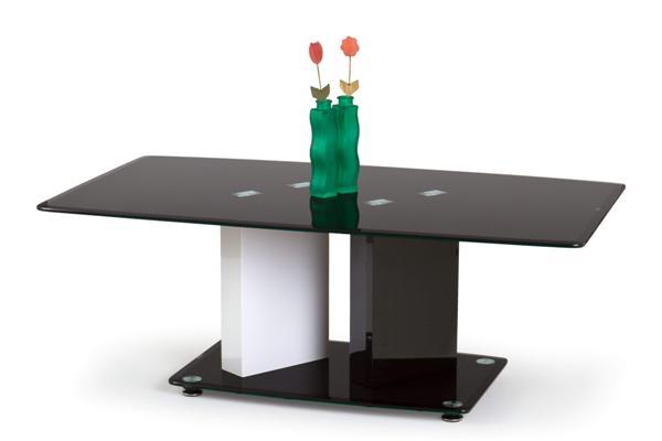 Debra dohányzó asztal fekete-fehér 70x120 cm üveglapos