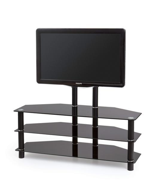 Stolik RTV-20 Tv állvány fekete üveglapos 110x40x45 cm