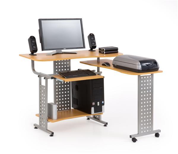 B-1 sarok számítógépasztal, szürke acél, éger MDF, 114x52
