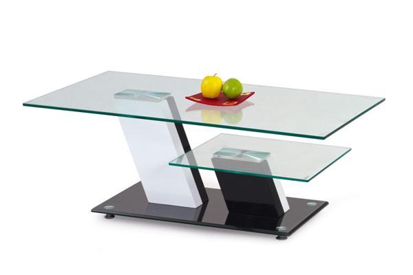 Savana dohányzó asztal fekete-fehér üveglapos 110x60x45