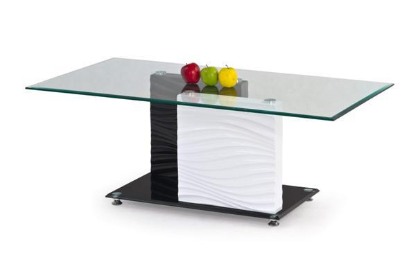 Shanell dohányzó asztal fehér-fekete üveglapos 120x65x45