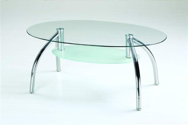 Berta dohányzó asztal króm üveglapos 110x60x45