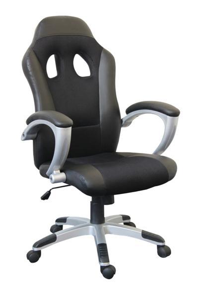OF-0561 karfás forgószék, fekete-szürke textilbőr/háló, szürke műanyag láb