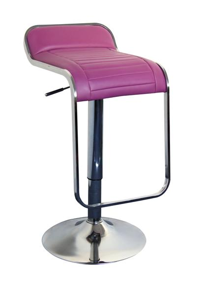 MF-5695 bárszék króm, lila textilbőr