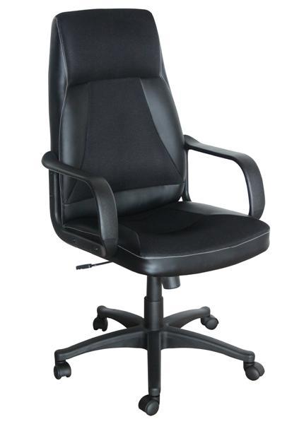 OF-0647 XXL karfás főnöki forgószék,fekete textilbőr/mesh,fekete műanyag láb és karfa