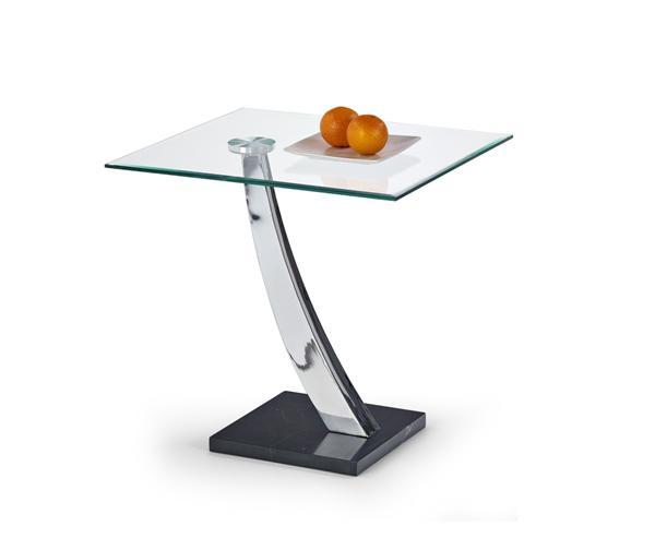 Serena dohányzó asztal üveglapos, króm váz, márvány talp 56x56x60