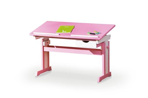 Cecilia gyerek íróasztal, állítható, rózsaszín-fehér MDF 109x55x62/88