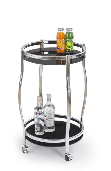 Bar-8 kerek zsúrkocsi, króm, fekete üveg, görgős