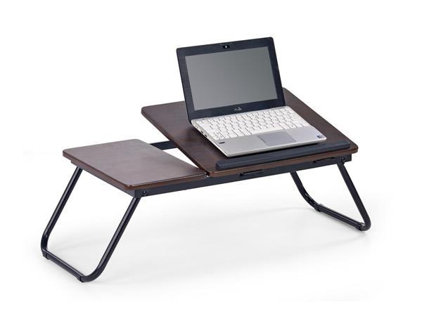 B-19 asztali laptop tartó, fekete acél, sötét dió MDF lap