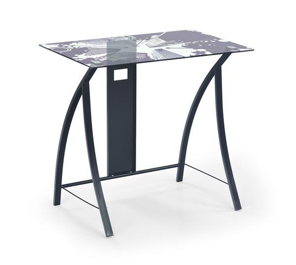 B-21 laptop asztal, fekete acél váz, felülnyomásos üveglap, 80x50x75